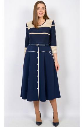 Купить Платье TricoTex Style 112-17 темно-синий, Платья, 112-17, темно-синий, 70% п/э, 25% вискоза, 5% спандекс, Мультисезон