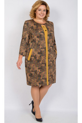 Купить Платье TricoTex Style 27-18 терракотовые тона, Платья, 27-18, терракотовые тона, 70% п/э, 25% вискоза, 5% спандекс, Мультисезон
