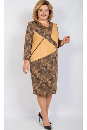 Купить Платье TricoTex Style 26-17 терракотовые тона, Платья, 26-17, терракотовые тона, 70% п/э, 25% вискоза, 5% спандекс, Мультисезон