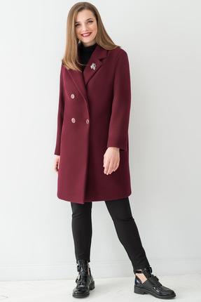 Купить Пальто ЮРС 18-911-2 темно-бордовый, Пальто, 18-911-2, темно-бордовый, ПАН 55%, полиэстер 38%, шерсть 7%, Мультисезон