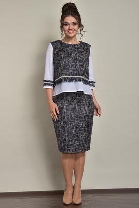 Купить Комплект юбочный Solomeya Lux 524 серо-синие тона, Юбочные, 524, серо-синие тона, полиэстер-60%, хлопок-39%, эластан-1%, Мультисезон