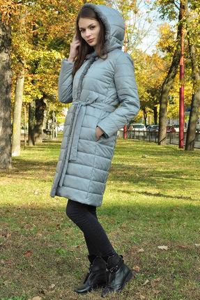 Купить Пальто Миа Мода 949-1 серо-голубой, Пальто, 949-1, серо-голубой, ПЭ 100%, утеплитель ISOSOFT 200 Подкладка ПЭ 100%, Мультисезон