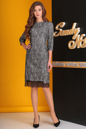 Купить Платье SandyNa 13528-1 серый, Платья, 13528-1, серый, текстильная ткань с кружевом – полиэстер 88%, спандекс 12%., Мультисезон