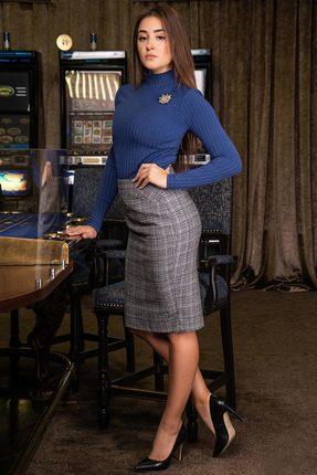 Купить Комплект юбочный Deesses D-024 синий с серым, Юбочные, D-024, синий с серым, Гольф: Вискоза 60%+ПЭ 35%+Спандекс 5% Юбка: Шерсть 15%+Вискоза 55%+ПЭ 27%+Спандекс 3%, Мультисезон
