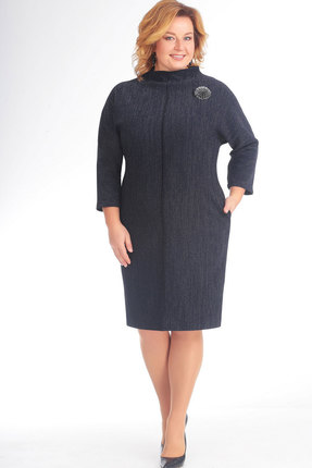 Купить Платье СлавияЭлит 431 тёмно-синий, Платья, 431, тёмно-синий, Вискоза 65%, ПЭ 30%, Эластан 5%, Мультисезон