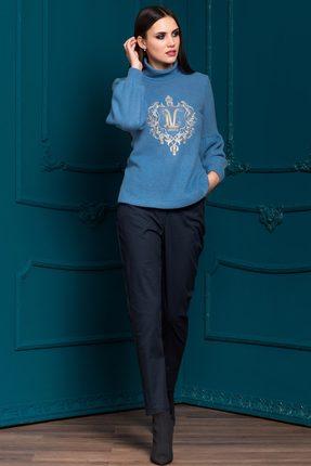 Купить Комплект юбочный Vesnaletto 1920-1 синие тона, Юбочные, 1920-1, синие тона, Джемпер: Акрил 45%+ПЭ 50%+Шерсть 5% Брюки: Хлопок 65%+ПЭ 30%+Спандекс 5%, Мультисезон