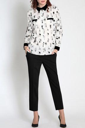 Купить Блузка Divina 6.338-2 черный с белым, Блузки, 6.338-2, черный с белым, ПЭ 97+Спандекс 3%, Мультисезон