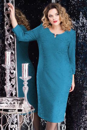 Купить Платье LeNata 11590 бирюзовые тона, Платья, 11590, бирюзовые тона, вискоза 97%, спандекс 3%, Мультисезон