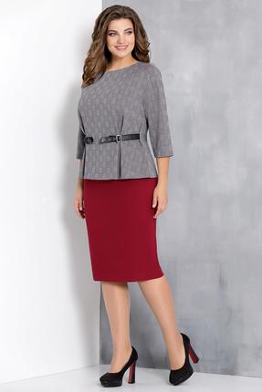 Купить Комплект юбочный Olga Style с580 серо-красные тона, Юбочные, с580, серо-красные тона, пэ 66%, вискоза 29%, спандекс 5%, Мультисезон