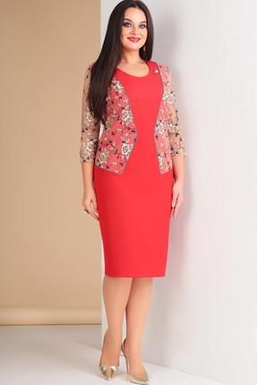 Купить Платье Ксения Стиль 1586 красный, Платья, 1586, красный, п/э 71%, вискоза 23%, спандекс 6% (плательная ткань), Мультисезон