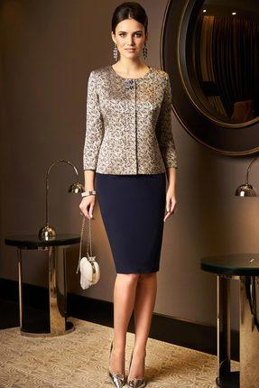 Комплект юбочный Lissana 3537 синий с золотым
