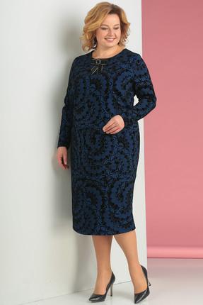Купить Платье Новелла Шарм 3130-с синие тона, Платья, 3130-с, синие тона, плательная ткань с флоком, Мультисезон