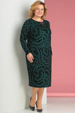 Купить Платье Новелла Шарм 3130 зеленые тона, Платья, 3130, зеленые тона, плательная ткань с флоком, Мультисезон