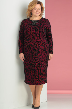 Купить Платье Новелла Шарм 3130-3 бордовые тона, Платья, 3130-3, бордовые тона, плательная ткань с флоком, Мультисезон