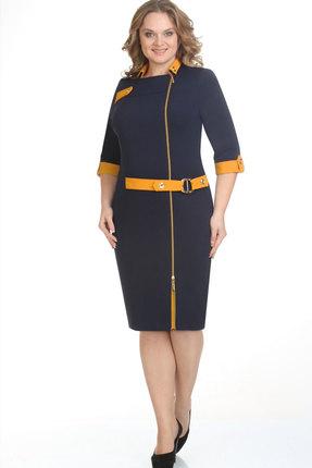 Купить Платье Elga 01-571 синий+горчица, Платья, 01-571, синий+горчица, 65% Вискоза 35% ПЭ 5% Спандекс, Мультисезон