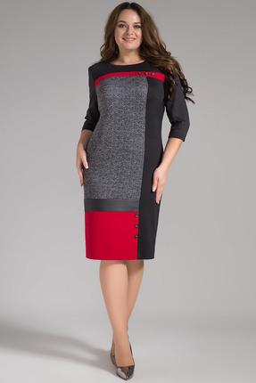 Купить Платье Erika Style 692 черный с красным, Платья, 692, черный с красным, вискоза 72%, ПЭ 25%, спандекс 3%, Мультисезон