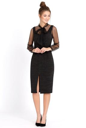 Купить Комплект плательный PIRS 546 черный, Плательные, 546, черный, блуза 100% полиэстер; платье 76% полиэстер 20% вискоза 4% эластан, Мультисезон