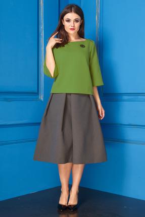 Купить Комплект юбочный Anastasia 233 зеленый, Юбочные, 233, зеленый, ПЭ-63%, Вискоза-34%, Спандекс-3%, Мультисезон