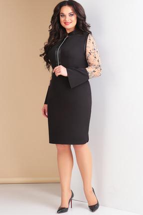Купить Платье Ксения Стиль 1584 черный, Платья, 1584, черный, п/э 71%, вискоза 23%, спандекс 6%, Мультисезон