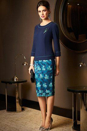 Купить со скидкой Комплект юбочный Lissana 3519 темно-синий с бирюзовым