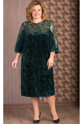 Купить Платье Aira Style 653 зеленый, Платья, 653, зеленый, Бархат мокрый, кружево, пайетки., Мультисезон