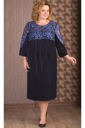 Купить Платье Aira Style 653 синий, Платья, 653, синий, Бархат мокрый, кружево, пайетки., Мультисезон