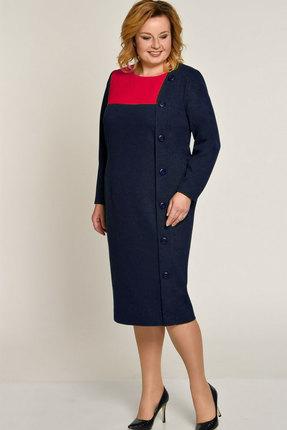 Купить Платье Elga 01-572 тёмно-синий, Платья, 01-572, тёмно-синий, 65% Вискоза 30% ПЭ 5% Металлонить, Мультисезон