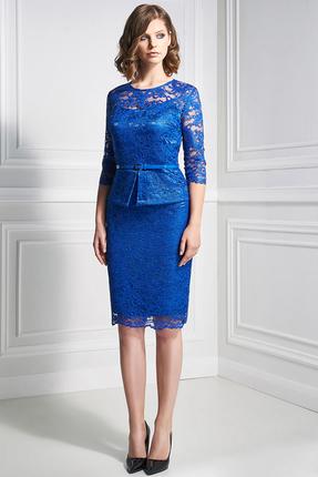 Купить Платье Bazalini 3346 синий, Вечерние платья, 3346, синий, Кружево ПЭ 65% Хлопок 35% Подкладка: ПЭ 60% Вискоза 37% Спандекс 3%, Мультисезон
