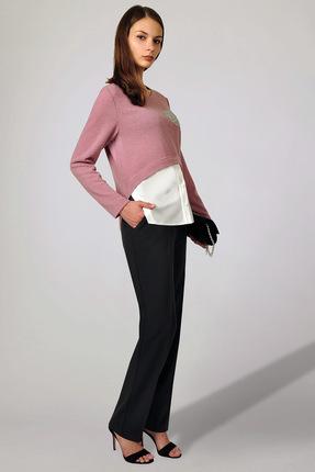 Купить Комплект брючный Миа Мода 963 розовый с черным, Брючные, 963, розовый с черным, Блуза: ПЭ 87 %, вискоза 10 %, спандекс 3% Брюки: ПЭ 55 %, вискоза 40 %, спандекс 5%, Мультисезон