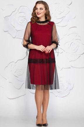 Купить Платье Ivelta plus 1616 черный с красным, Вечерние платья, 1616, черный с красным, 100% полиамид 64% п/э, 30% вискоза, 4% спандекс, 2% металлонить, Мультисезон