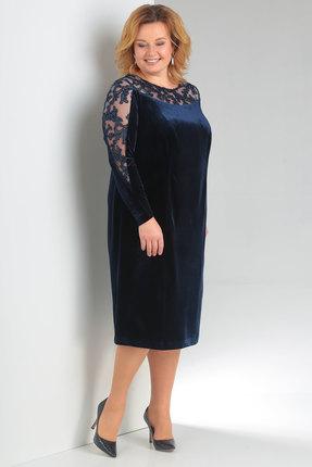 Купить Платье Новелла Шарм 3136с синий, Платья, 3136с, синий, бархат, кружево, Мультисезон