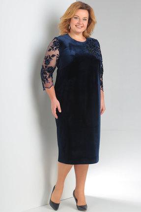 Купить Платье Новелла Шарм 3146 синий, Платья, 3146, синий, бархат, кружево (пэ 97%, спандекс 3%), Мультисезон
