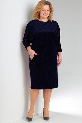 Купить Платье Новелла Шарм 3148-1 синий, Платья, 3148-1, синий, бархат, кружево (пэ 97%, спандекс 3%), Мультисезон