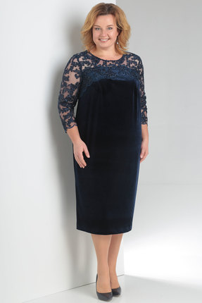 Купить Платье Новелла Шарм 3151с синий, Платья, 3151с, синий, бархат, кружево (пэ 97%, спандекс 3%), Мультисезон