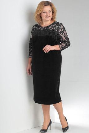 Купить Платье Новелла Шарм 3151 черный, Платья, 3151, черный, бархат, кружево (пэ 97%, спандекс 3%), Мультисезон