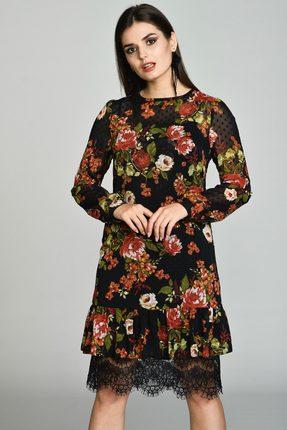 Купить Платье Svetlana Style 1157 черный с цветами , Платья, 1157, черный с цветами , ПЭ 95%+Спандекс 5%, Мультисезон