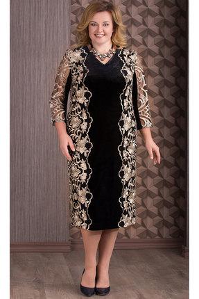 Купить Платье Aira Style 655 черный с золотом, Платья, 655, черный с золотом, Бархат, кружево (пэ 95%, спандекс 5%), Мультисезон