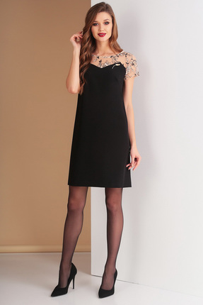 Купить Платье Ксения Стиль 1600 черный, Платья, 1600, черный, п/э 71%, вискоза 23%, спандекс 6% (костюмно-плательная), Мультисезон