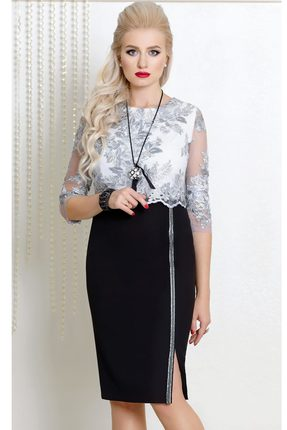 Купить Платье Vittoria Queen 7093 черный с серебром, Платья, 7093, черный с серебром, ПЭ 86%+Спандекс 14%, Мультисезон