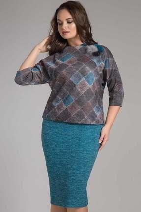 Купить Комплект юбочный Erika Style 559-2 бирюза с серым, Юбочные, 559-2, бирюза с серым, вискоза 72%, ПЭ 25%, спандекс 3%, Мультисезон