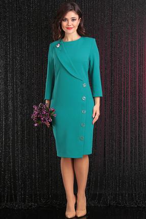 Купить Платье Мода-Юрс 2438 морская волна, Платья, 2438, морская волна, полиэстер 65%, вискоза 30%, спандекс 9%, Мультисезон