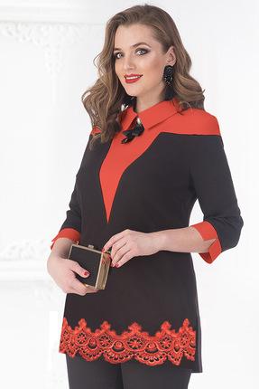 Купить Блузка Лилиана 687 черный с красным, Блузки, 687, черный с красным, Пэ-65, Вискоза - 30%, спандекс – 5%, Мультисезон