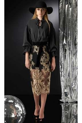 Комплект юбочный DiLiaFashion 0175 черный с золотом