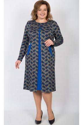 Купить Платье TricoTex Style 105-17 серый с синим, Платья, 105-17, серый с синим, 65% вискоза, 30% ПЭ, 5% спандекс, Мультисезон