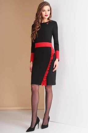 Купить Платье Ксения Стиль 1585 черный с красным, Платья, 1585, черный с красным, п/э 71%, вискоза 23%, спандекс 6% (костюмно-плательная ткань), Мультисезон