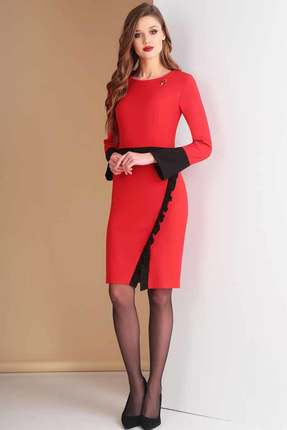 Купить Платье Ксения Стиль 1585 красный с черным, Платья, 1585, красный с черным, п/э 71%, вискоза 23%, спандекс 6% (костюмно-плательная ткань), Мультисезон
