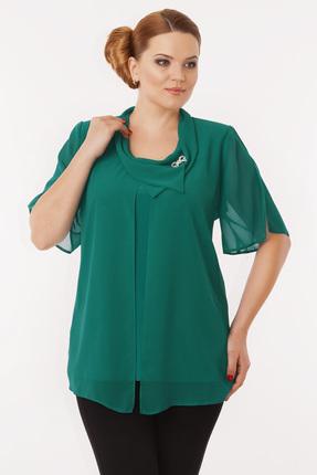 Купить Блузка Дали 1418 зеленый, Блузки, 1418, зеленый, вискоза 48%, ПЭ 47%, спандекс 5%, Мультисезон