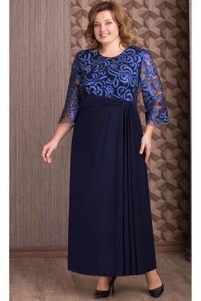 Купить Платье Aira Style 657 синий, Платья, 657, синий, плательная тань (пэ 95%, спандекс 5%), Мультисезон