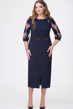 Купить Платье Bonna Image 377 тёмно-синий, Платья, 377, тёмно-синий, 71% ПЭ, 24% Вискоза, 5% Спандекс, Мультисезон