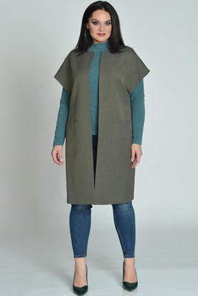 Купить Жилет Lady Style Classic 1603 серо-зеленый, Жилеты, 1603, серо-зеленый, ПЭ 74%+Вискоза 23%+ПУ 3% Подкладка: ПЭ 100%, Мультисезон